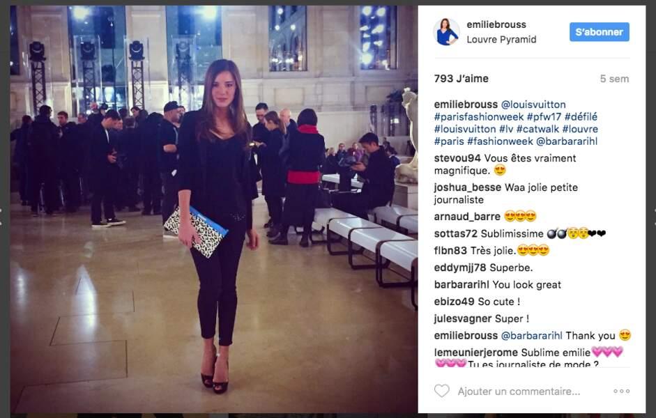 Emilie Broussouloux pendant la fashion week