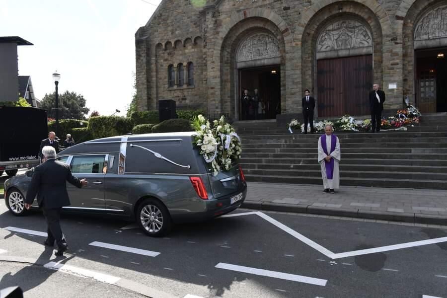Michel Fugain assiste a la ceremonie religieuse en hommage a Maurane a l'eglise Notre-Dame des Graces a Woluwe-Sain