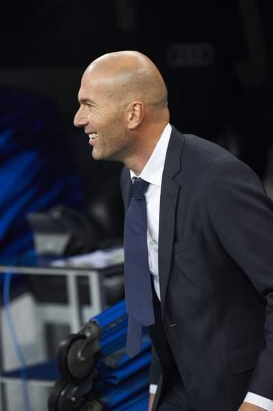 Zinédine Zidane lors de son premier match en tant qu'entraîneur du Real Madrid, le 9 janvier 2016