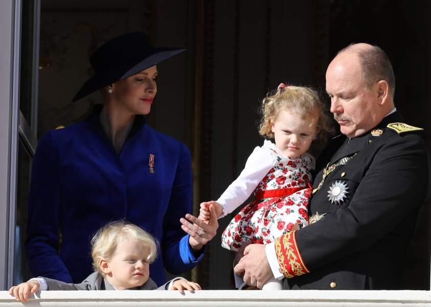 Charlène, Jacques, Gabriella et Albert lors de la fête nationale monégasque, le 19 novembre 2017