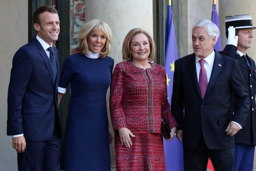 Brigitte Macron semble toujours très complice avec les autres premières dames cimme la femme du président du Chili