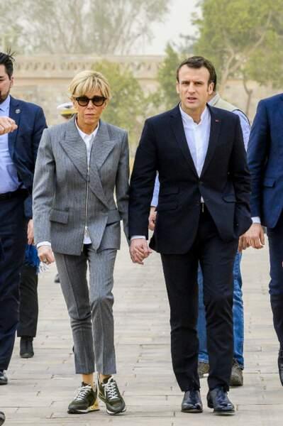 Brigitte Macron portait déjà des baskets en Egypte le 27 janvier 2019