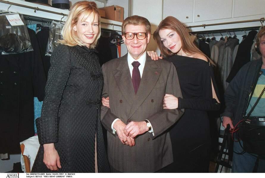 Avec Karen Mulder et Yves Saint Laurent, dans les coulisses du défilé prêt à porter automne hiver 1997-1998