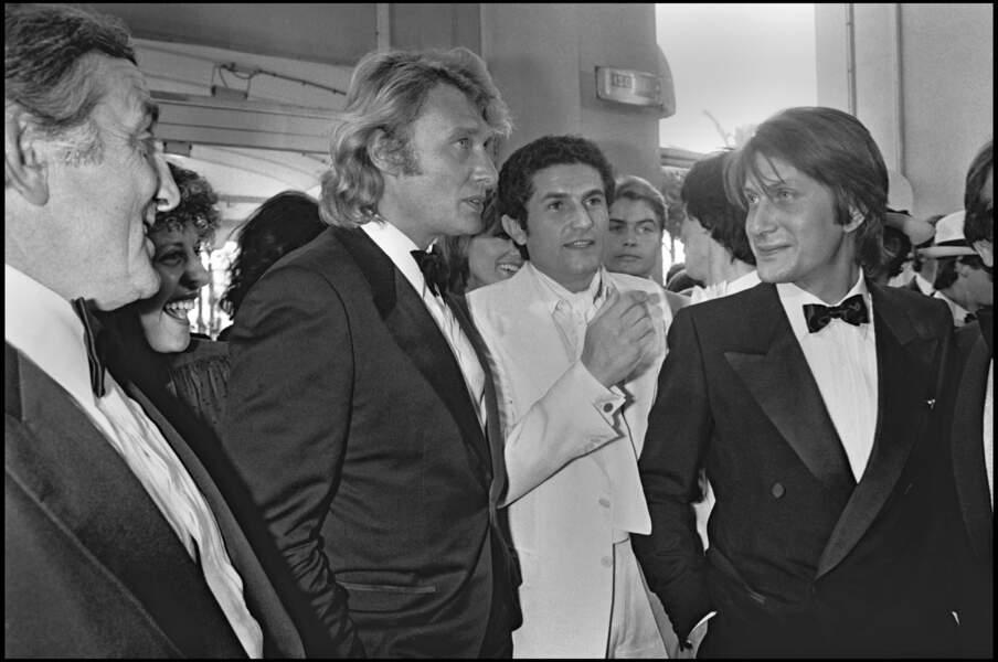 Johnny Hallyday et Jacques Dutronc, avec Lino Ventura et Claude Lelouch à Cannes en 1979