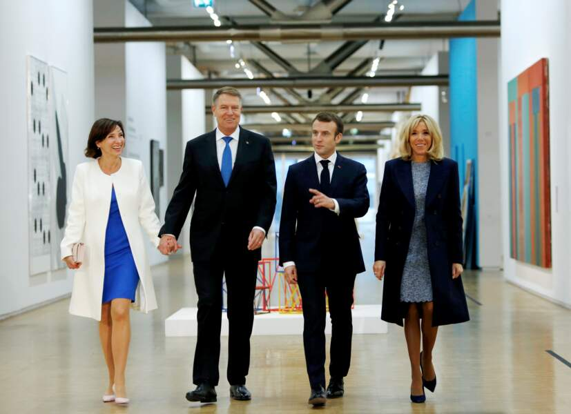 Emmanuel et Brigitte Macron visitent le Centre Georges Pompidou avec Klaus et Carmen Iohannis