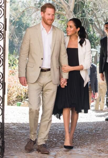 Meghan Markle et le prince Harry en visite à Rabat, lors de leur voyage officiel au Maroc, le 25 février 2019.