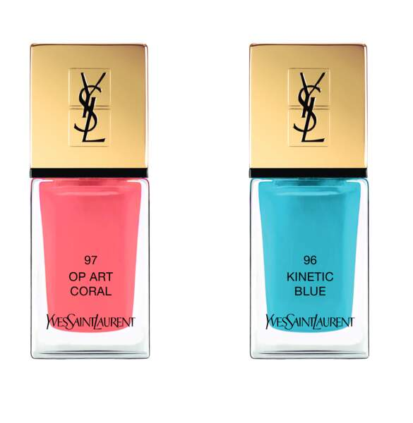 Vernis à ongles (teintes n°97 Op Art Coral et n°96 Kinetic Blue) Yves Saint Laurent, 25€