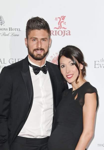 Olivier Giroud et son épouse Jennifer, enceinte, le 30 novembre 2015
