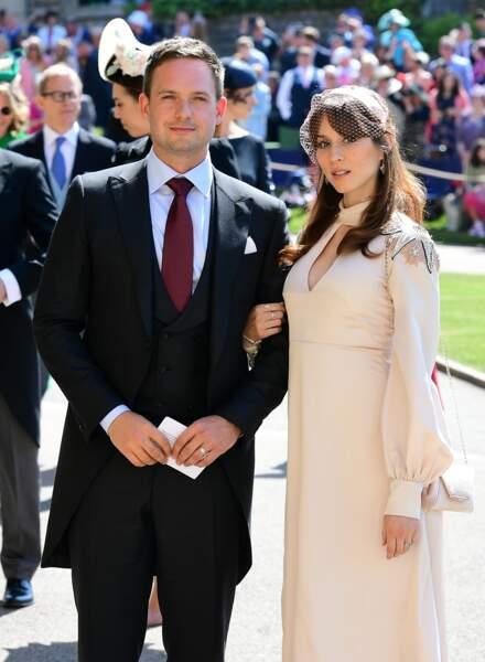 Patrick J. Adams et sa femme Troian Bellisario au mariage du prince Harry et de Meghan Markle le 19 mai 2018
