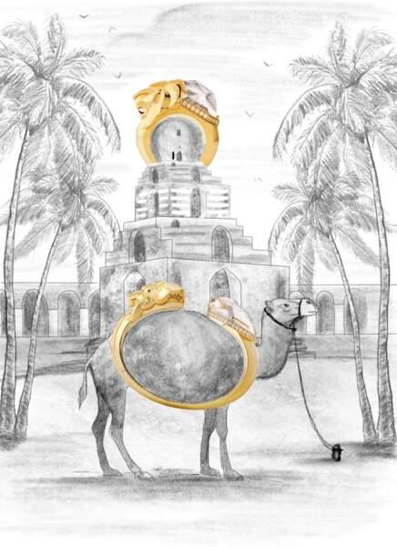 Bague et bracelet Lion Sculptural en or jaune, quartz fumé et diamants, Chanel