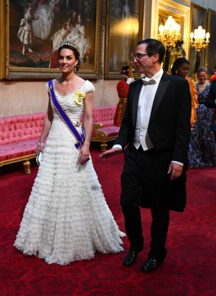 Kate Middleton, rayonnante, lors du dîner royal en l'honneur du couple Trump, à Londres, le 3 juin 2019.
