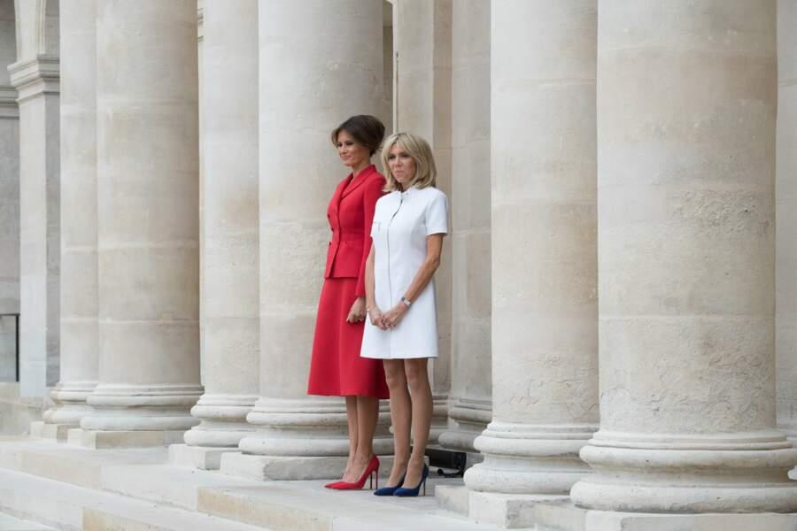 13 juillet 2017: à la différence de Brigitte Macron, la Première dame américaine ne dévoile plus ses genoux