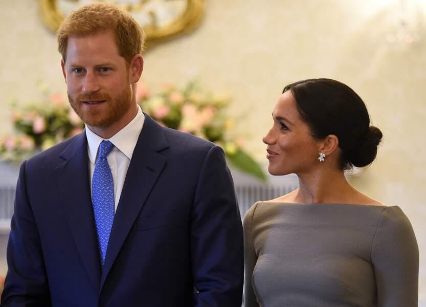 Le prince Harry et Meghan Markle lors d'une rencontre avec le président irlandais à Dublin, le 11 juillet 2018