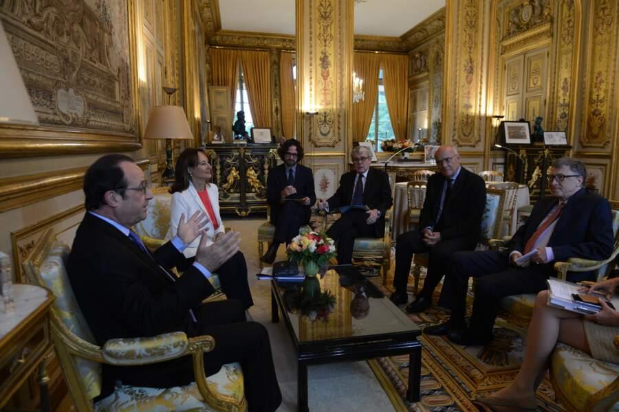 François Hollande accompagné de Ségolène Royal et Jacques Audibert, reçoit Bill Gates à l'Elysée le 27 Juin 2016