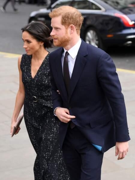 Meghan Markle et le prince Harry à leur arrivée à la cérémonie d'une commémoration, à Londres, le 23 avril 2018.