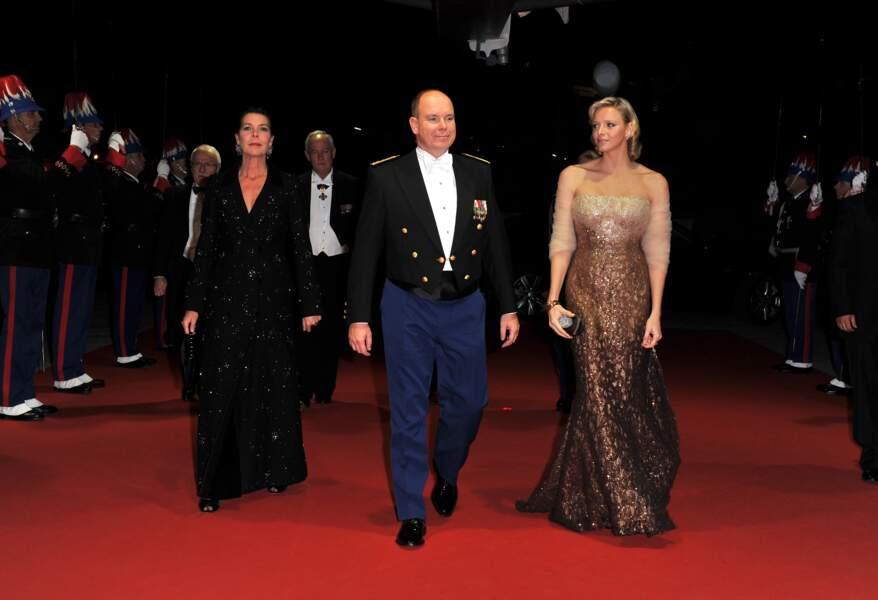 Caroline, Albert et Charlene au gala de la fête nationale monégasque, en 2010
