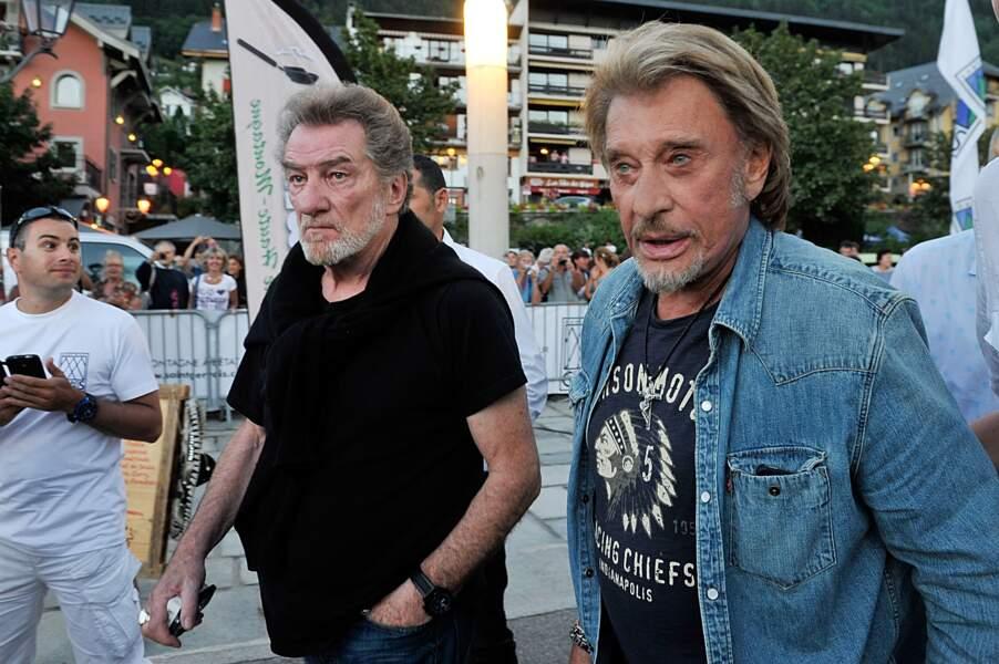 """Eddy Mitchell et Johnny Hallyday sur le tournage du film """"Salaud on t'aime"""" de Claude Lelouch en 2013"""