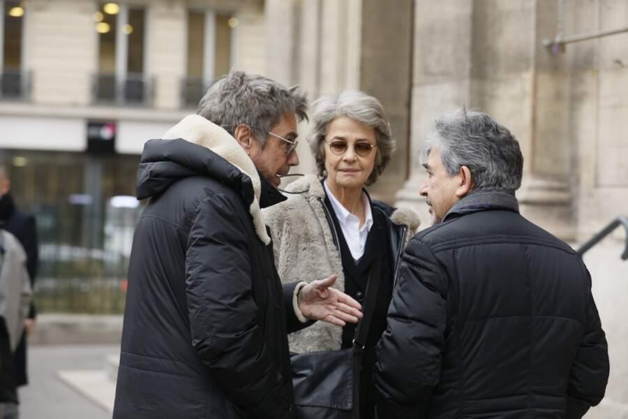 Jean-Michel Jarre et Charlotte Rampling, Jean-Luc Monterosso aux obsèques de Henry Chapier le 4 février 2019