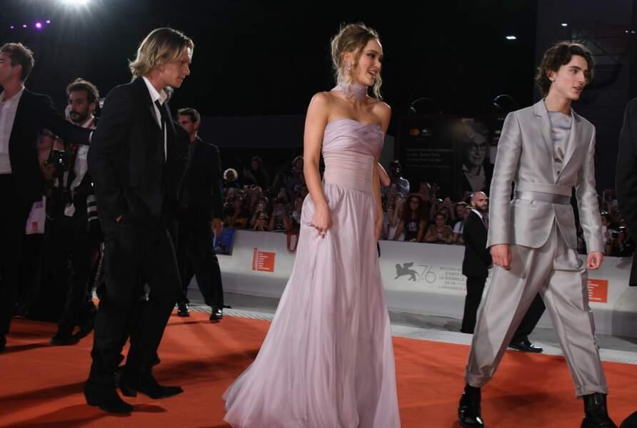"""Lily-Rose Depp, Timothée Chalamet  et toute l'équipe de la série """"The King"""