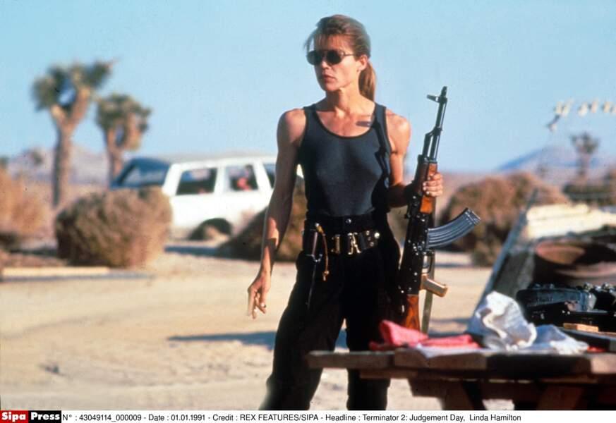 Linda Hamilton dans Terminator 2
