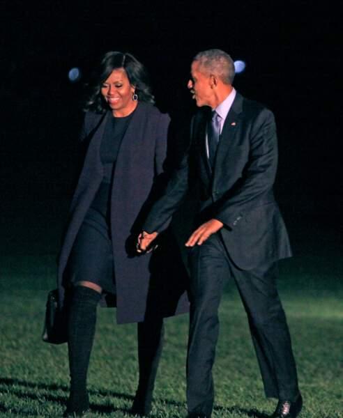 Barack et Michelle Obama durant la dernière soirée de campagne d'Hillary Clinton