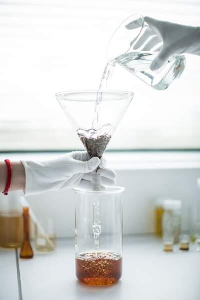 Après un long procédé technique, on obtient un extrait de thé sous forme liquide et cosmétique.