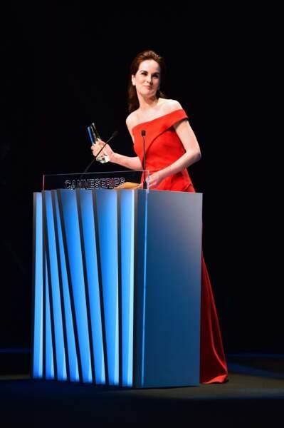 Elle a prononcé un discours de remerciement très émouvant