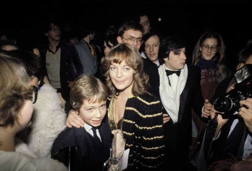 Romy Schneider et son fils David à la cérémonie des César en 1981