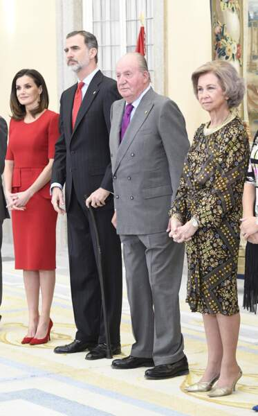 Letizia, Felipe VI, Juan Carlos et Sophia d'Espagne, lors des Sports National Awards, à Madrid, le 10 janvier 2019