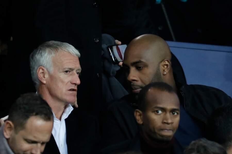 Didier Deschamps et Teddy Riner en pleine discussion devant le match du PSG