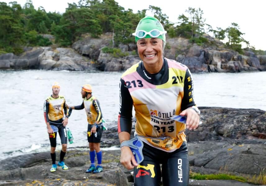 """Pippa Middleton participe à l'épreuve sportive """"Otillo Swim-Run World Championship"""" en Suède, le 7 septembre 2015"""