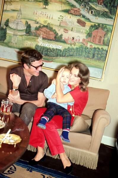 Romy Schneider, Harry Meyen et leur fils David en 1968