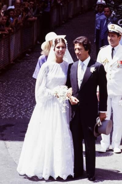 Mariage de Caroline de Monaco (dans une robe Marc Bohan) et de Philippe Junot à Monaco le 28 juin 1978
