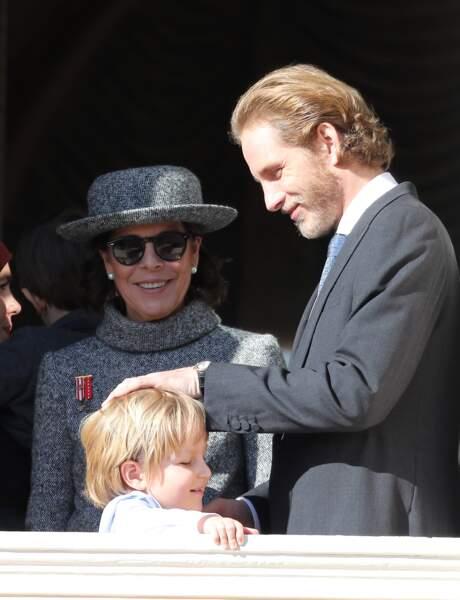 La princesse Caroline de Hanovre, Andréa Casiraghi et Sacha Casiraghi à Monaco, le 19 novembre 2017
