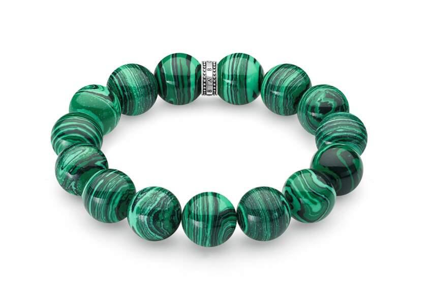 TALISMAN, bracelet perles vertes en argent. Thomas Sabo, 98 €.