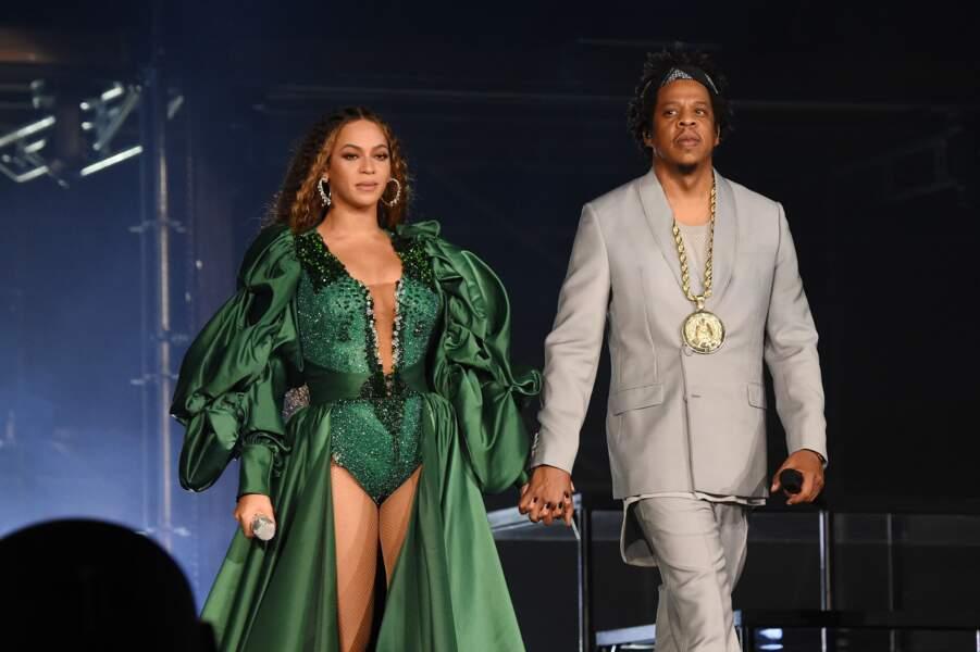 Beyonce sublime dans une robe verte majestueuse avec Jay-Z