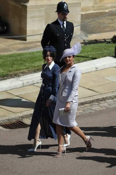 Abigail Spencer et Priyanka Chopra arrivent au mariage de Meghan Markle et du Prince Harry, le 19 mai 2018