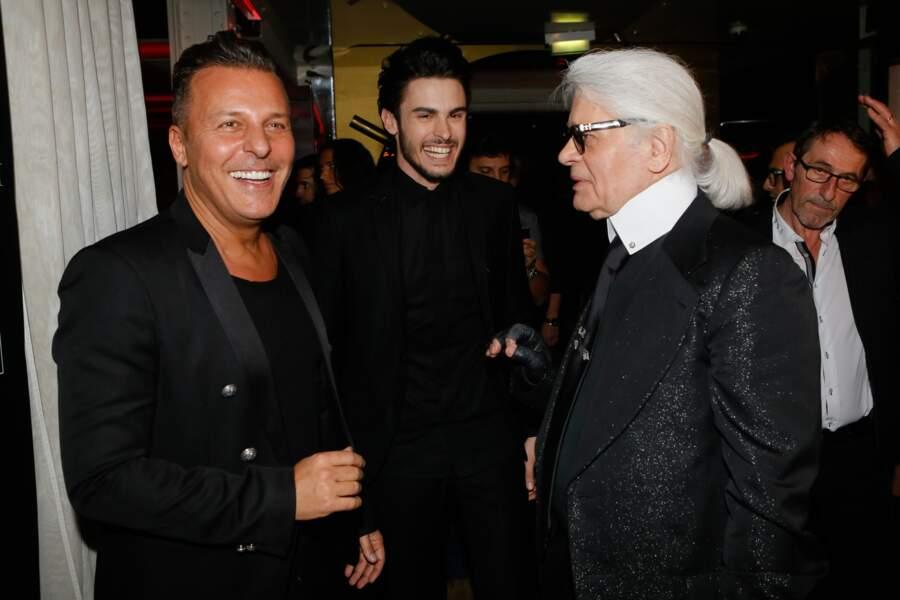 "Jean Roch, Baptiste Giabiconi et Karl Lagerfeld à la soirée ""Giabiconistyle.com opening"" au Vip Room, en 2015"