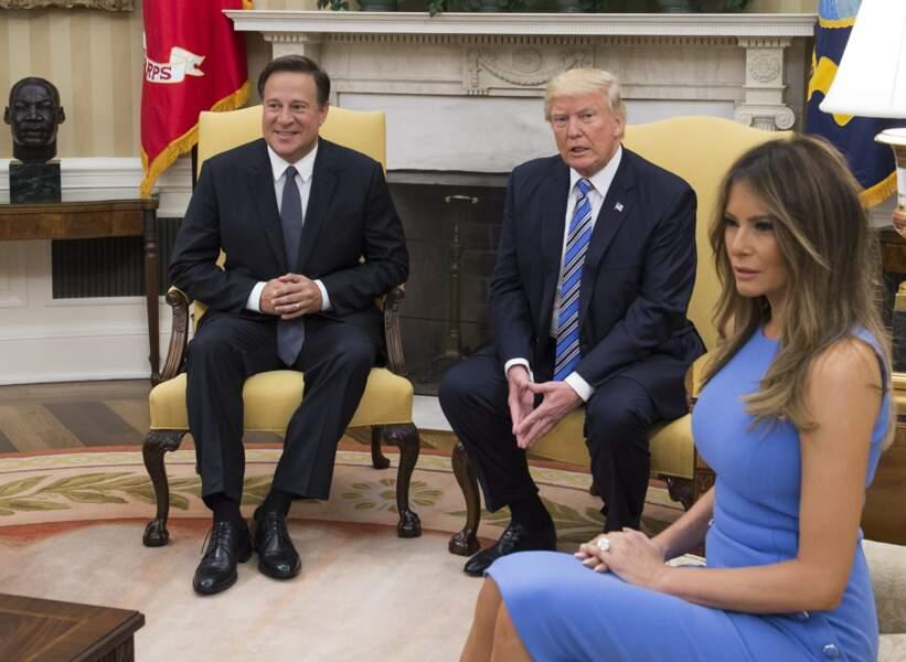 Le président des Etats-Unis Donald Trump et sa femme Melania reçoivent le président du Panama Juan Carlos Varela