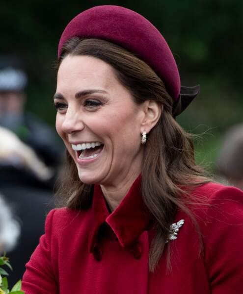 Kate Middleton et son headband Jane Taylor, porté à Sandringham, le 25 décembre 2018