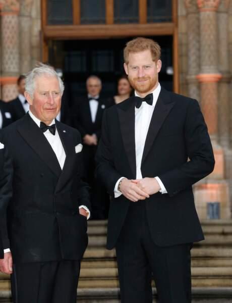 Le prince Charles et le prince Harry à l'avant-première de Our Planet, à Londres, le 4 avril 2019.