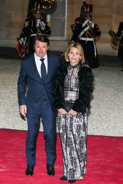 Christian Estrosi et sa femme Laura Tenoudji étaient également présents au dîner d'État avec le président chinois