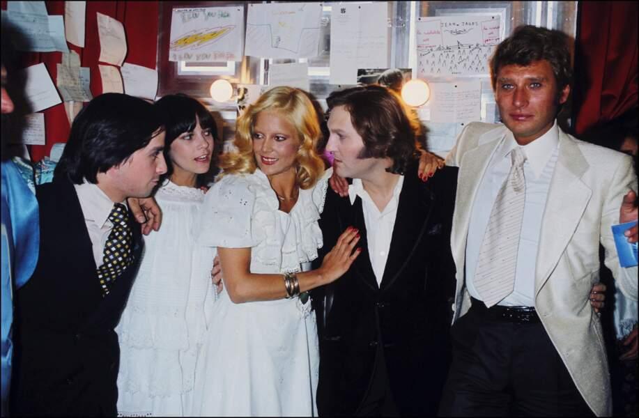 Thierry Le Luron avec Sylvie Vartan et Johnny Hallyday, Jean-Jacques Debout et Chantal Goya