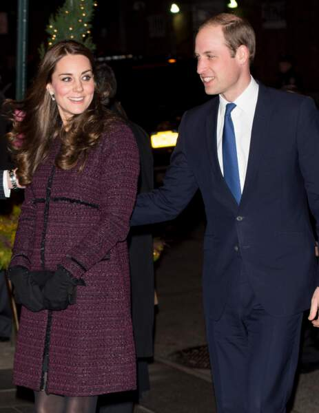Kate Middleton (enceinte de Charlotte) et le prince William à New York, le 7 décembre 2014