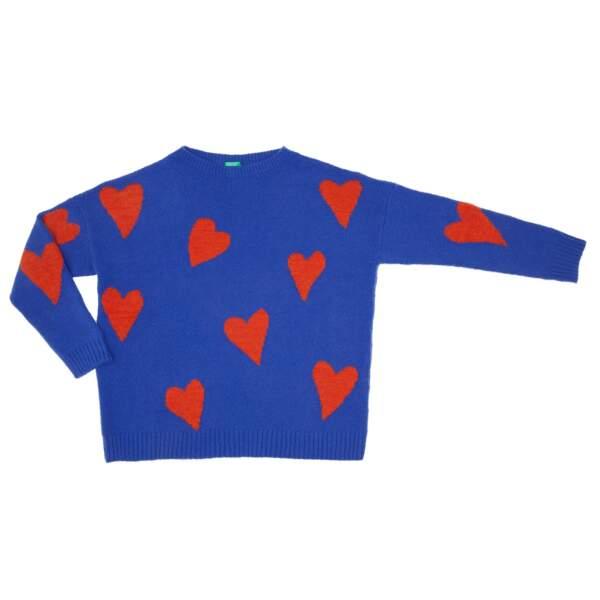 Sweat bicolore à coeur, 59,95 € (Benetton).