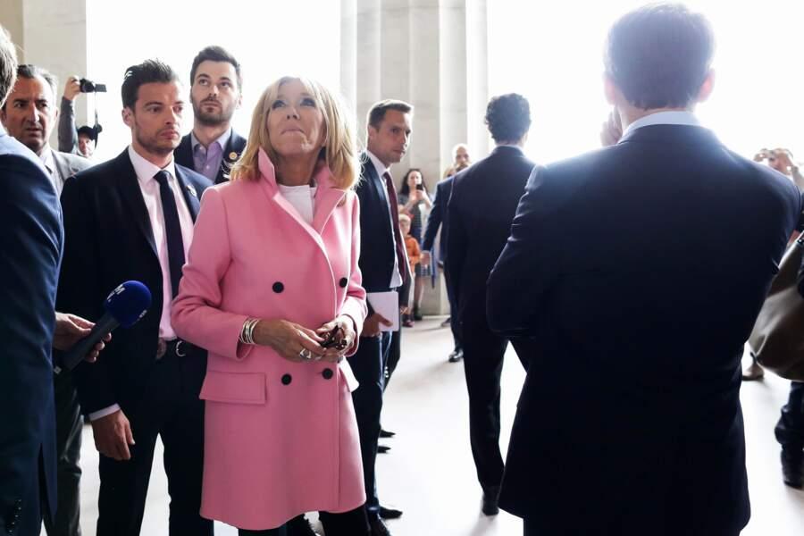 José Pietroboni (chef du protocole), Tristan Bromet (chef de cabinet) et Brigitte Macron
