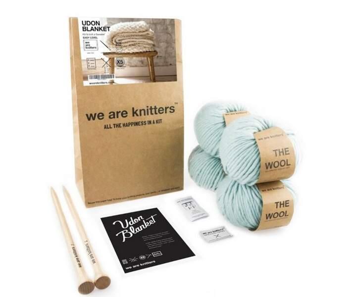 Kit tricot de couverture en laine péruvienne, niveau facile, 110 € (We Are Knitters)