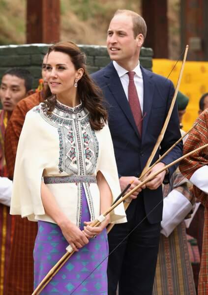 Le duc et la duchesse de Cambridge lors de la démonstration de tir à l'arc
