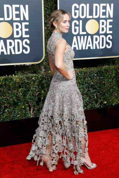 Emily Blunt en robe Alexander McQueen, à la cérémonie des Golden Globes 2019 à Los Angeles