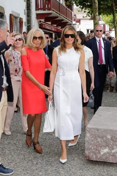 Brigitte Macron et Melania Trump étaient ravies de se retrouver dans la commune d'Espelette